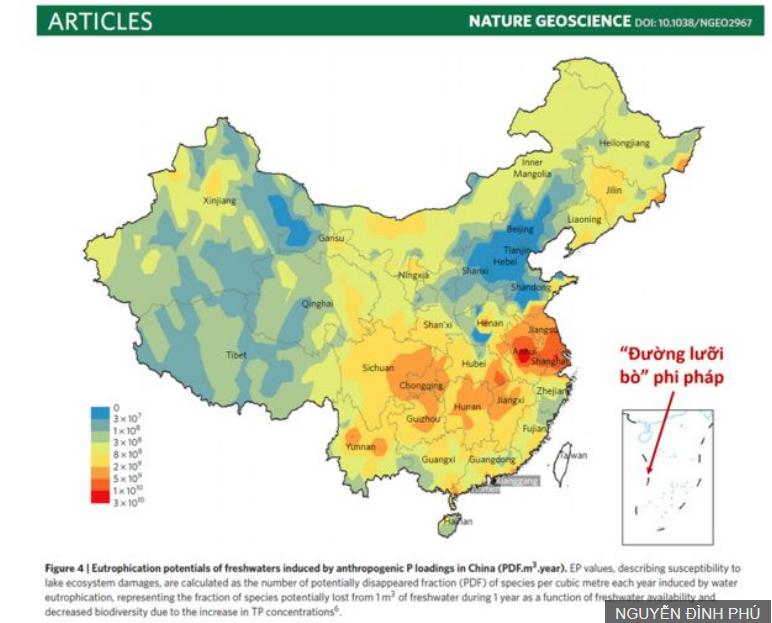 Bản quyền hình ảnh NGUYỄN ĐÌNH PHÚ Image caption. Hình có chèn Đường Lưỡi bò đi kèm bài viết của học giả Trung Quốc trên tạp chí Geoscience