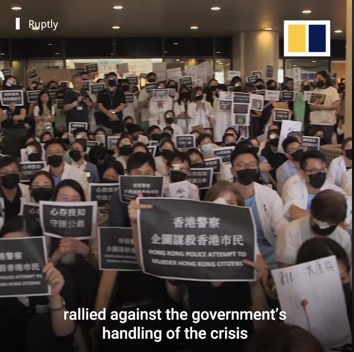 Các bác sĩ và y tá Hong Kong ủng hộ cuộc đấu tranh cho quyền dân chủ tại Hong Kong.