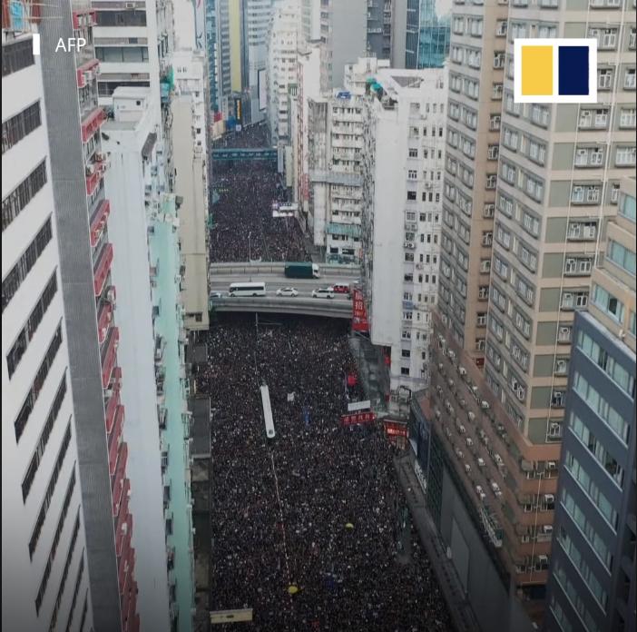 Cuộc tuần hành của trên triệu người dân ủng hộ quyền dân chủ cho Hong Kong.