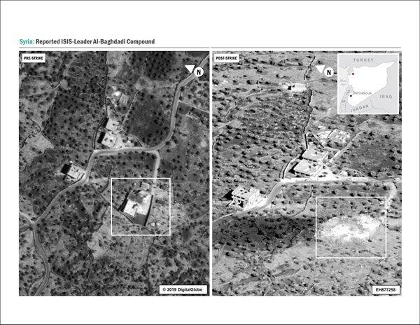 Hình vệ tinh chỗ trú ẩn của Al-Baghdadi: Bên trái, trước khi bị phá hủy, bên phải sau khi bị phá hủy, san bằng như một khoanh đâ1t trống