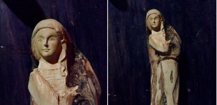 Tượng khắc Đức Mẹ Mân Côi do Lê Hoàng Hải thực hiện.