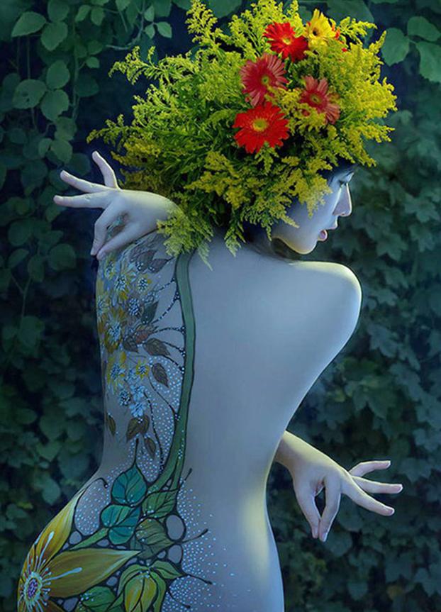 Tác phẩm body painting của Hani Hiền Trang nhận được nhiều lời khen.