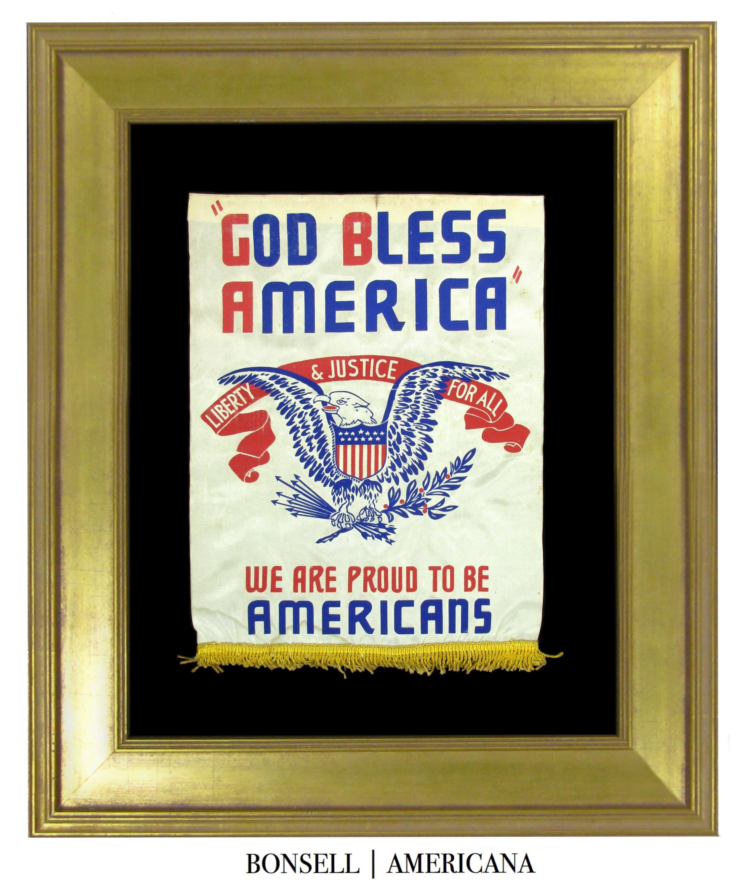 Wonderful Antique WWII God Bless America Banner
