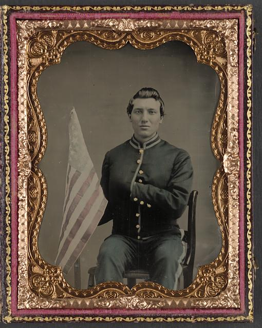 Soldier in Union Cavalry Uniform Holding American Flag | Circa 1861-1865