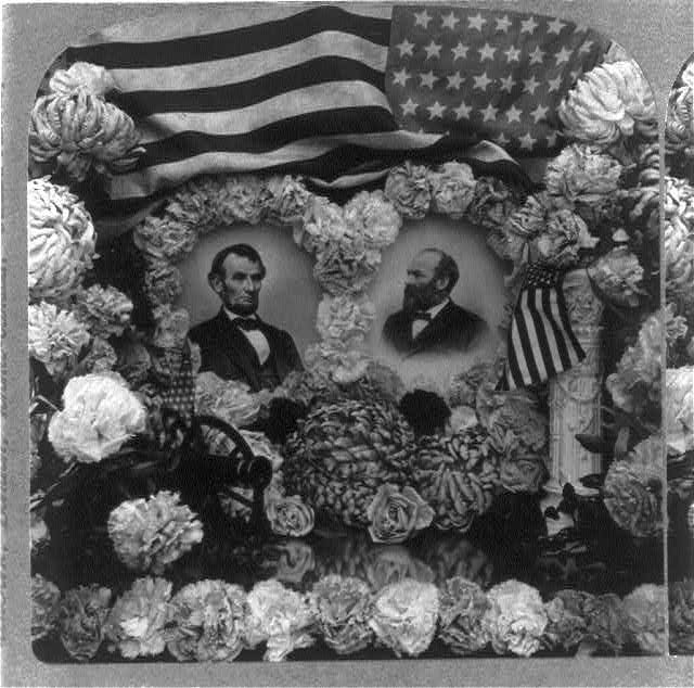 Busts set in Wreaths of Flower Under Lincoln and Garfield and the US Flag | Circa 1904