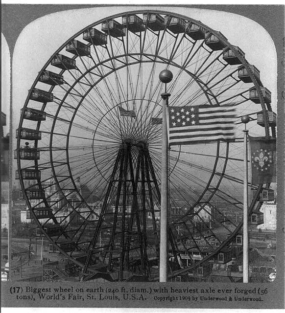 Ferris Wheel at the World's Fair in St. Louis with a 13 Star Flag | Circa 1904