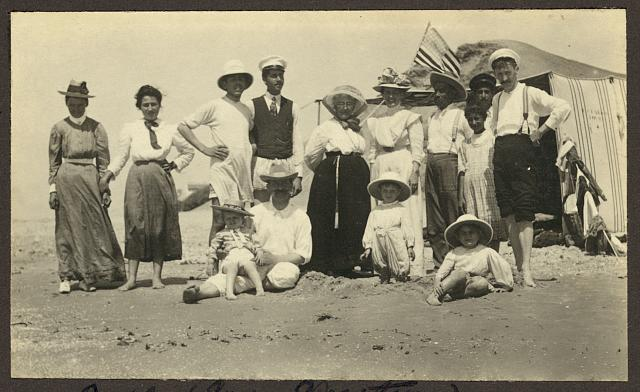 Mrs. Weston with Friends at the Beach in Jaffa with an American Flag in the Background | Circa 1900