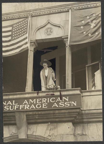 Miss Jeannette Rankin, of Montanan, Speaking From the Balcony of the National American Woman Suffrage Association | Circa 1917