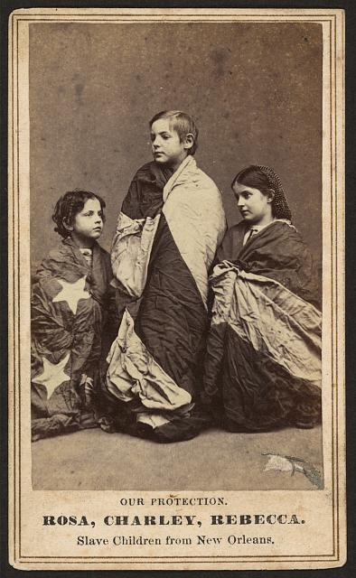 Freed Slaves-Rosina Downs, Charley Taylor, and Rebecca Huger-Wrapped in the U.S. Flag | Circa 1864