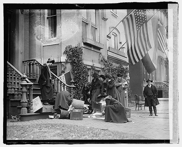 Fire Threatened to Destroy the Headquarters of the National Womens Party - The Suffragettes Promptly Removed all Important Records and Files Outside | Circa 1920