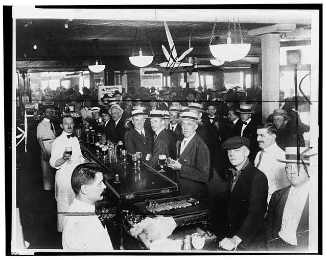 Crowded Bar Moments Before Midnight, June 30, 1919, When Wartime Prohibition Went into Effect in New York City   Circa 1919
