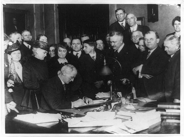 Governor James P. Goodrich of Indiana, Surrounded by Prominent Dry Workers, Signing the State-Wide Prohibition Bill to Take Effect in 1918