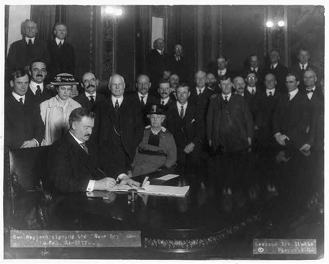 Governor Norbeck Signing the Bone Dry Law   Circa 1917
