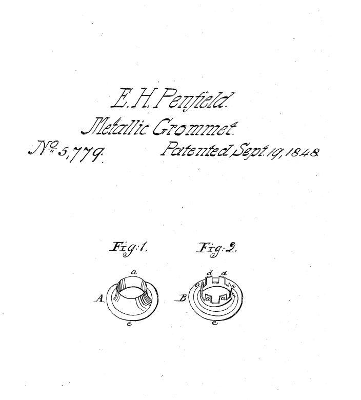 US5,779 | Metallic Grommet | Circa 1848