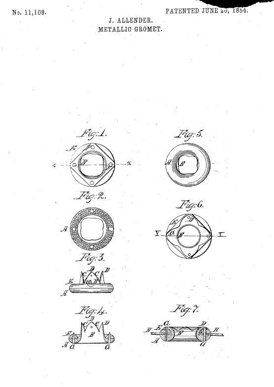 US11,108 | Metallic Grommet | Circa 1854