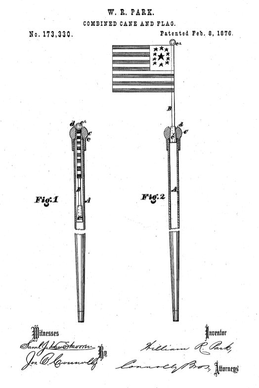 US173,330 | Imrovement in Combined Cane and Flag | Circa 1876