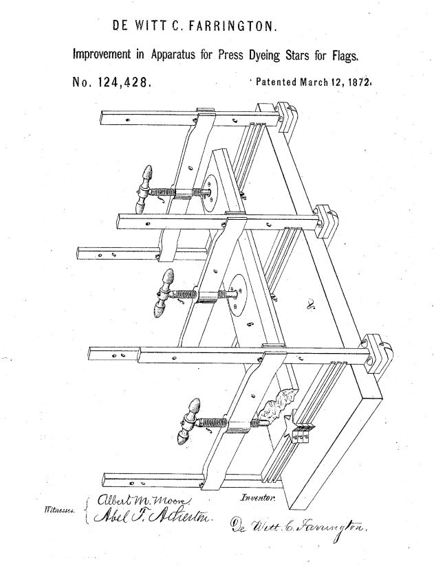 US124,328 | Improvement in Apparatus for Press Dyeing Stars for Flags | Circa 1872