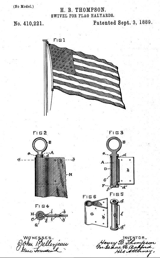 US410,221 | Swivel for Flag-Halyards | Circa 410,221