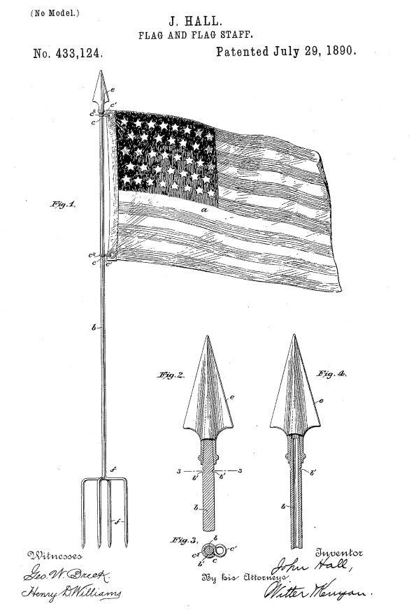 US433,124 | Flag and Flag-Staff | Circa 1890