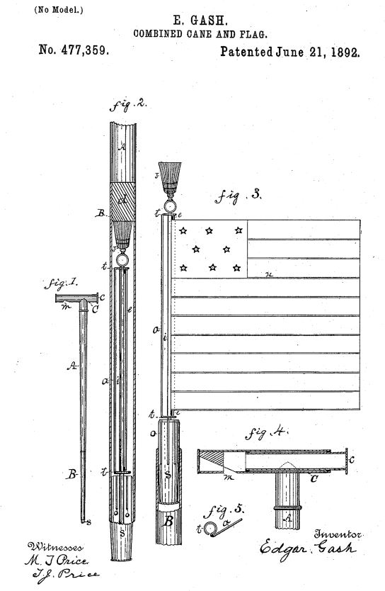US477,359 | Combined Cane and Flag | Circa 1892