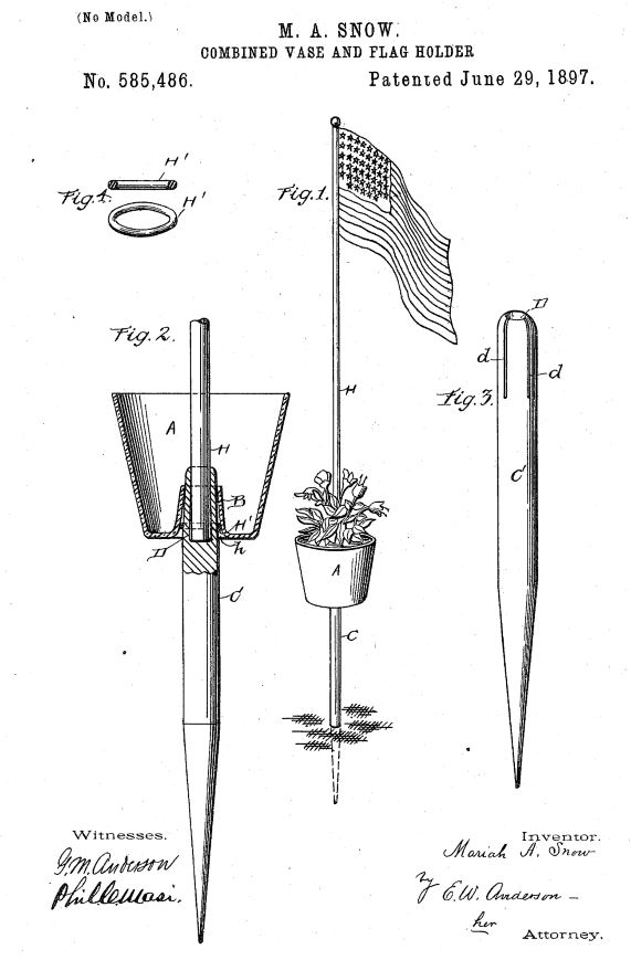 US585,486 | Combined Vase and Flag-Holder | Circa 1897