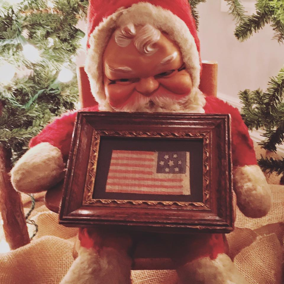 Santa with 7 Star Antique Flag
