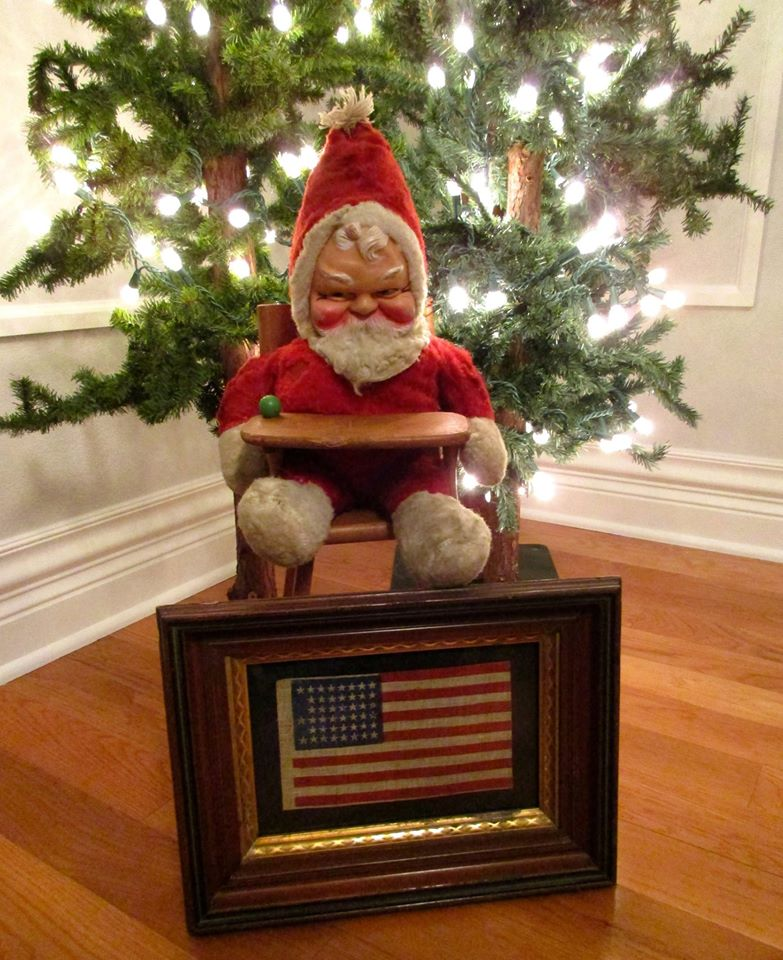 Santa with Framed 45 Star Antique Flag