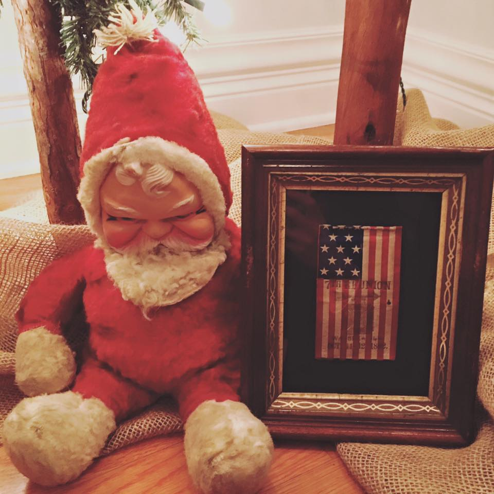 Santa with Antique 13 Star Flag with 1892 Watseka, Illinois Overprint