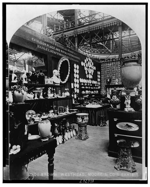 Plates and Figurines on Display at the Centennial Exhibition | Circa 1876