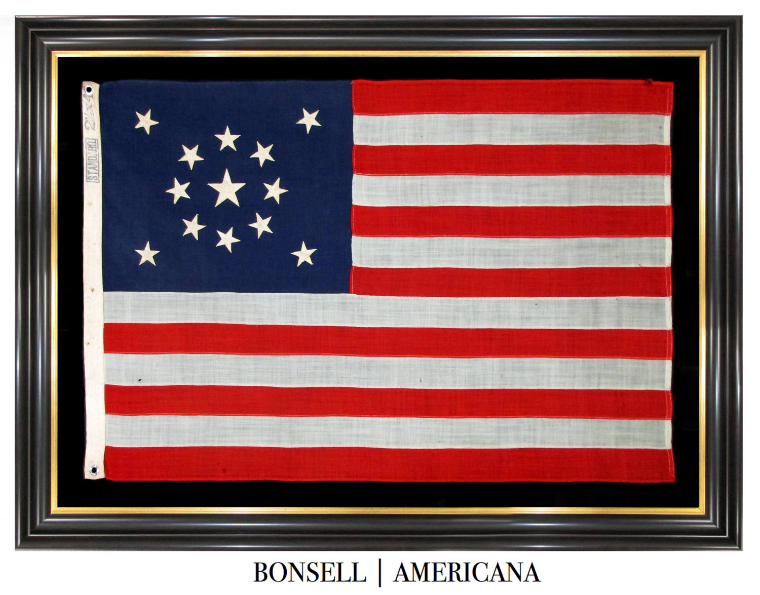 13 Star Antique US Flag with Medallion Pattern