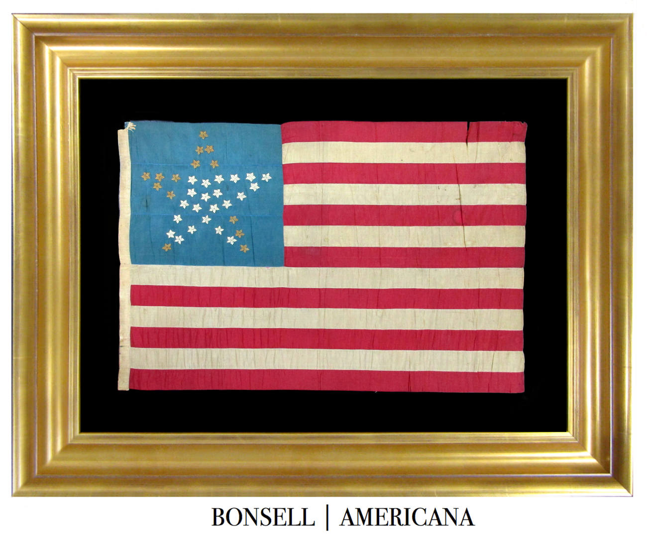 Handmade 36 Star Antique Flag with Great Star Pattern