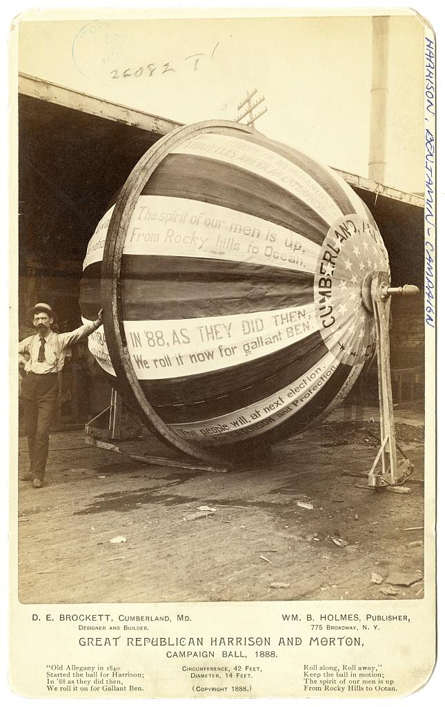 Great Republican Harrison and Morton Campaign Ball   Circa 1888