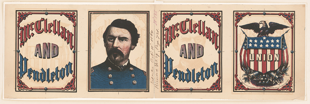 McClellan and Pendleton Campaign Banner   Circa 1864