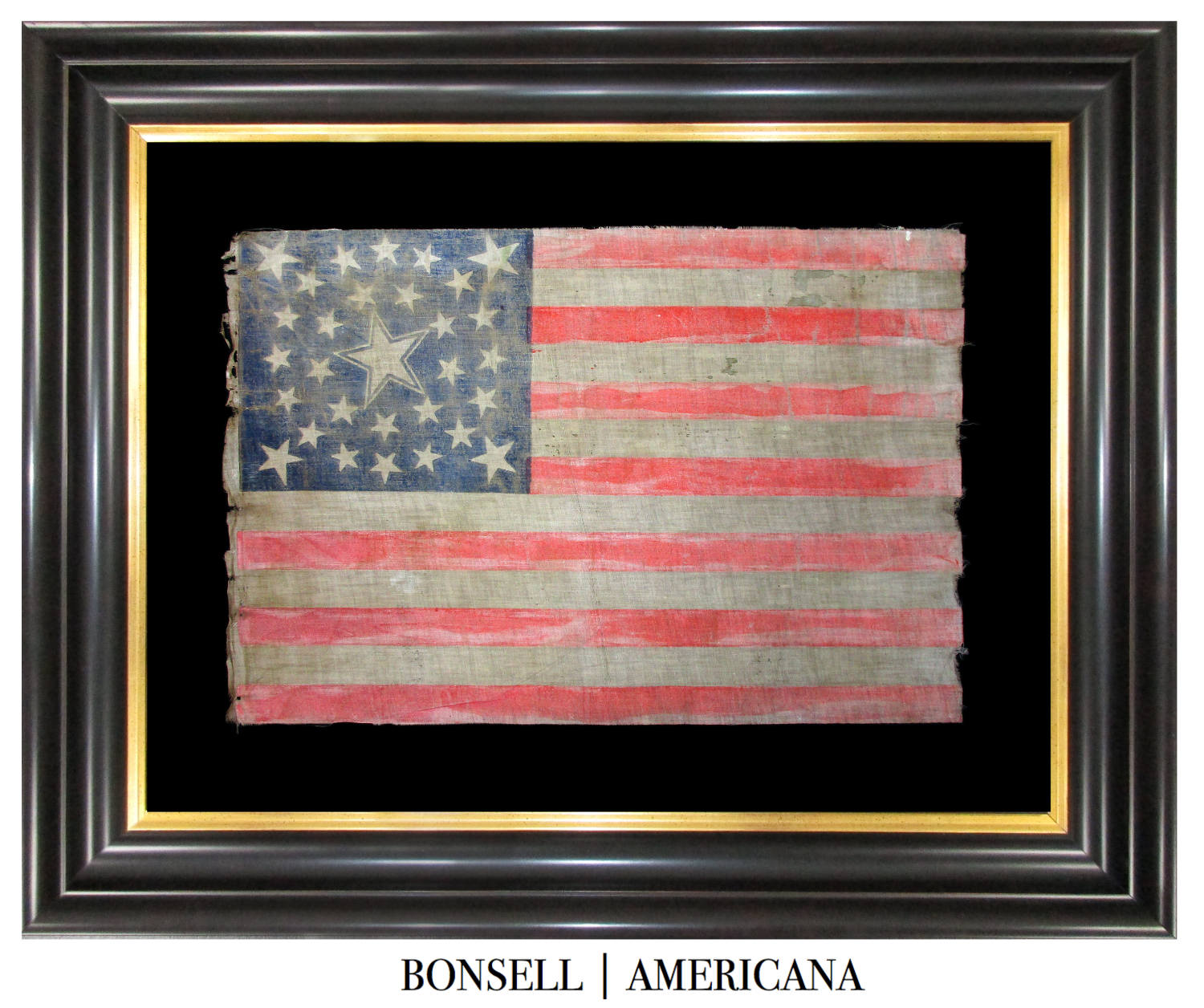 30 Star Antique Flag with Medallion Pattern and Haloed Center Star