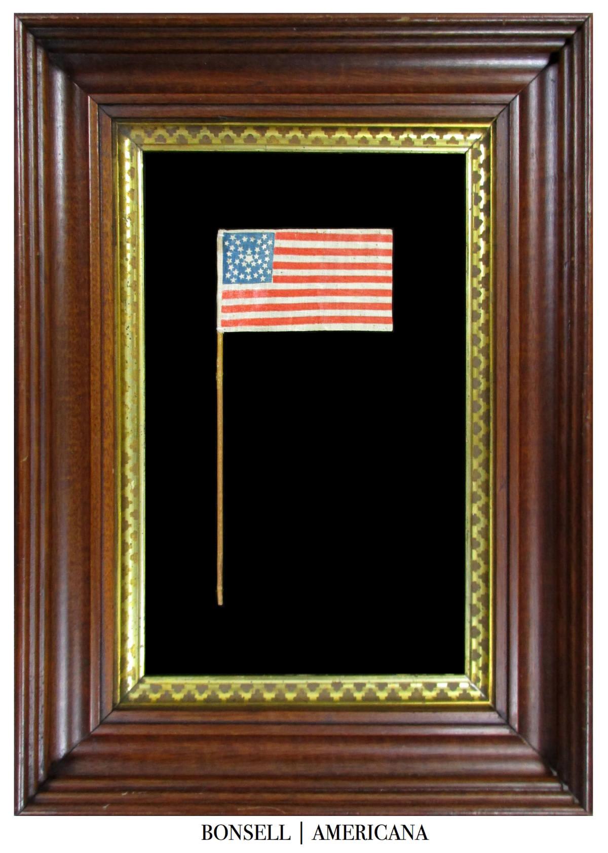 Civil War Era 36 Star Antique Flag with Medallion Star Pattren