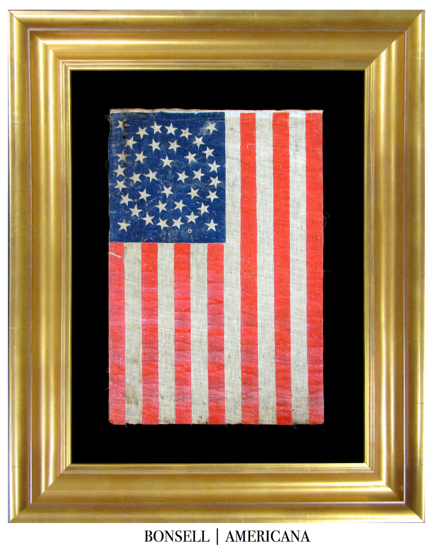 38 Star Antique American Flag with Medallion Star Pattern and Four Flanking Stars