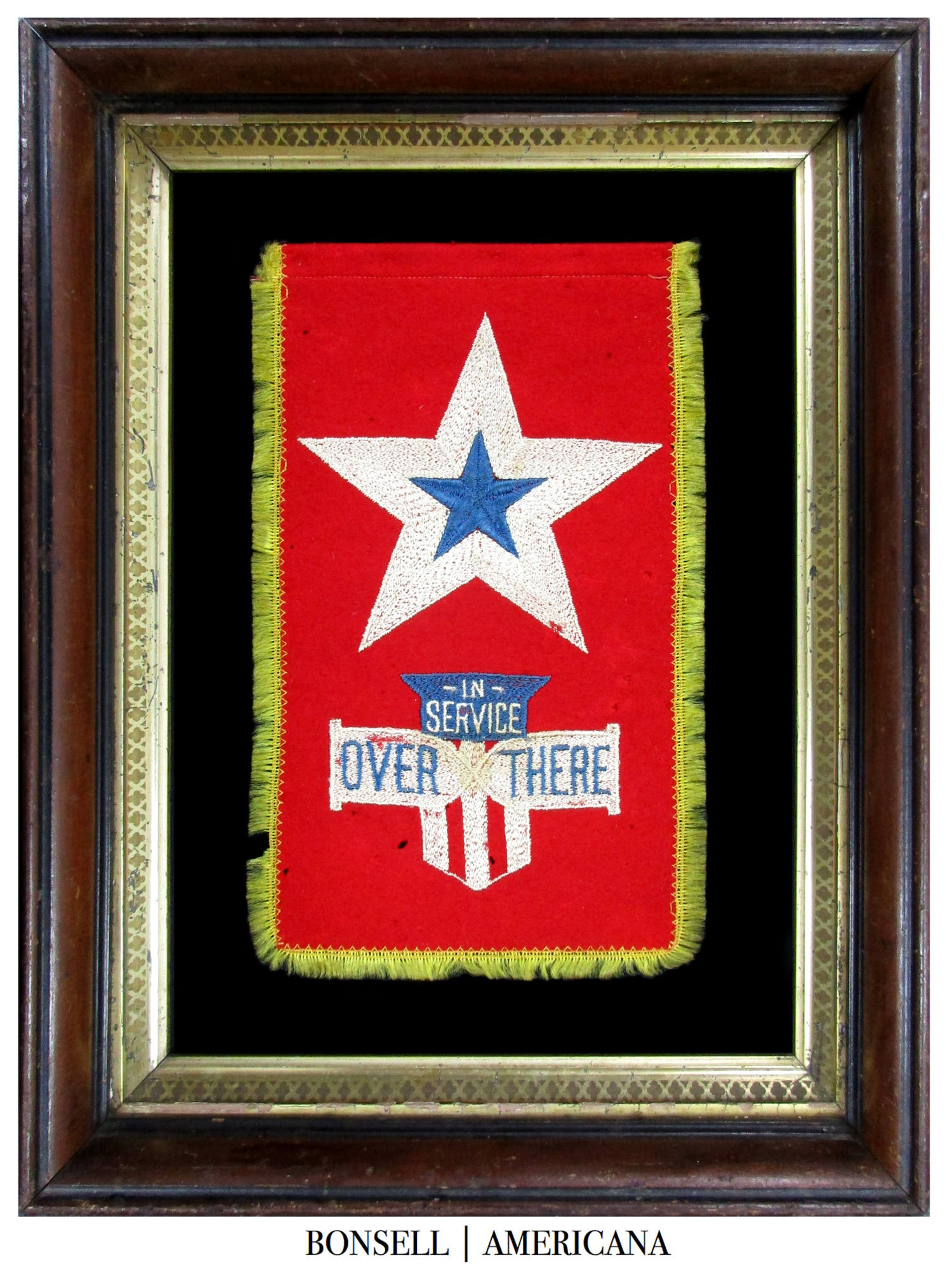 Antique American Son in Service Flag with Embroidered Stars and Text