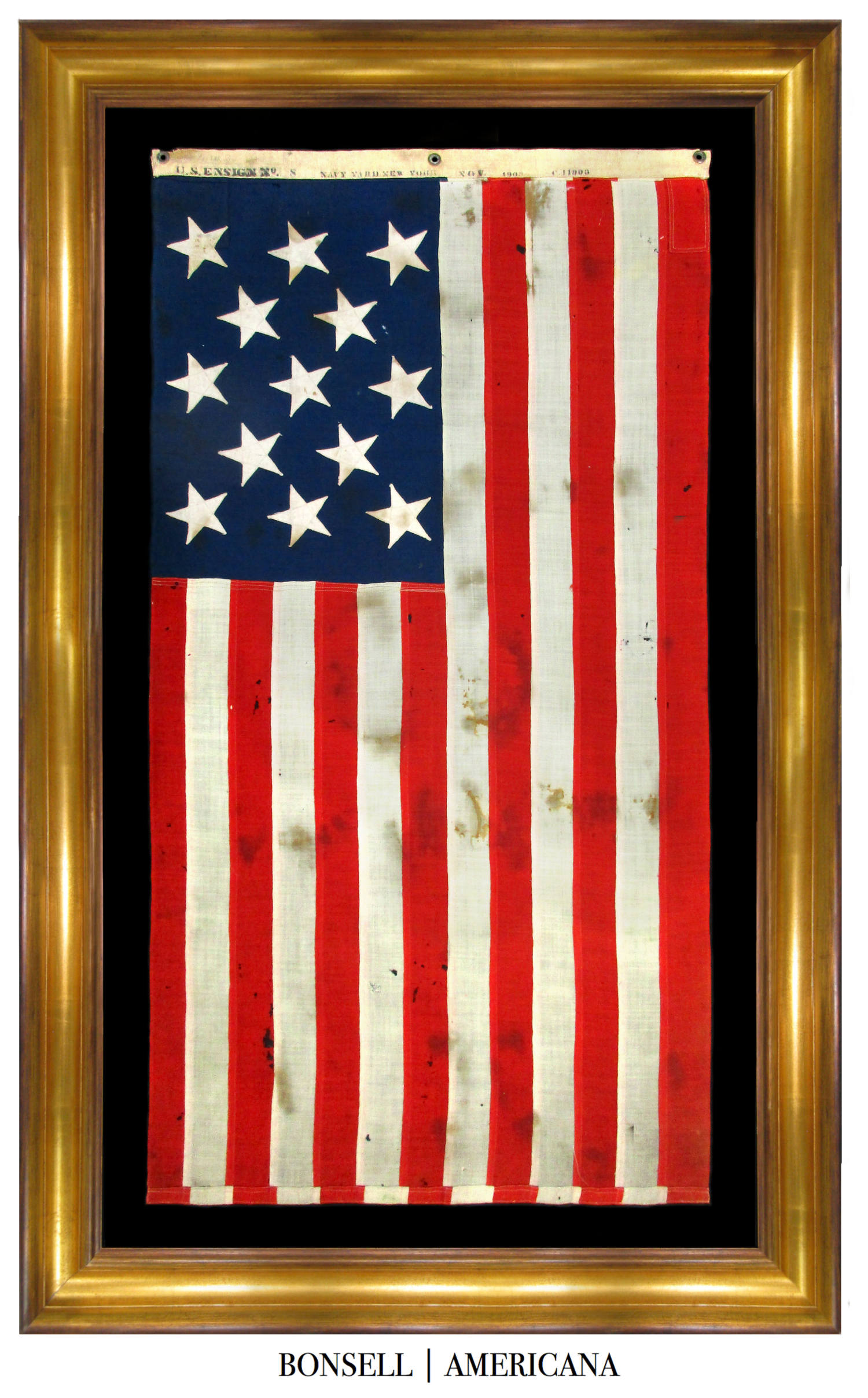 13 Star Antique Flag with U.S. Ensign No. 8 Stamp Along the Hoist