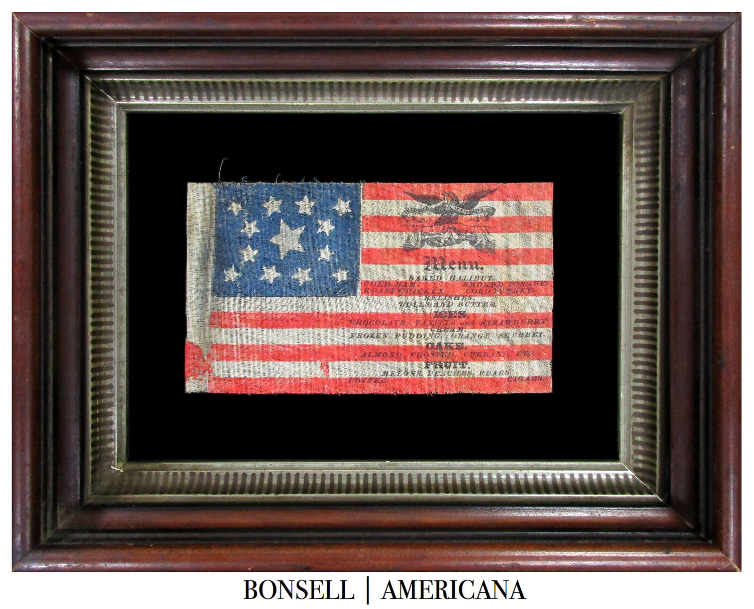 13 Star Antique American Flag with Overprinted Dinner Menu Likely for the Ulysses S. Grant Campaign