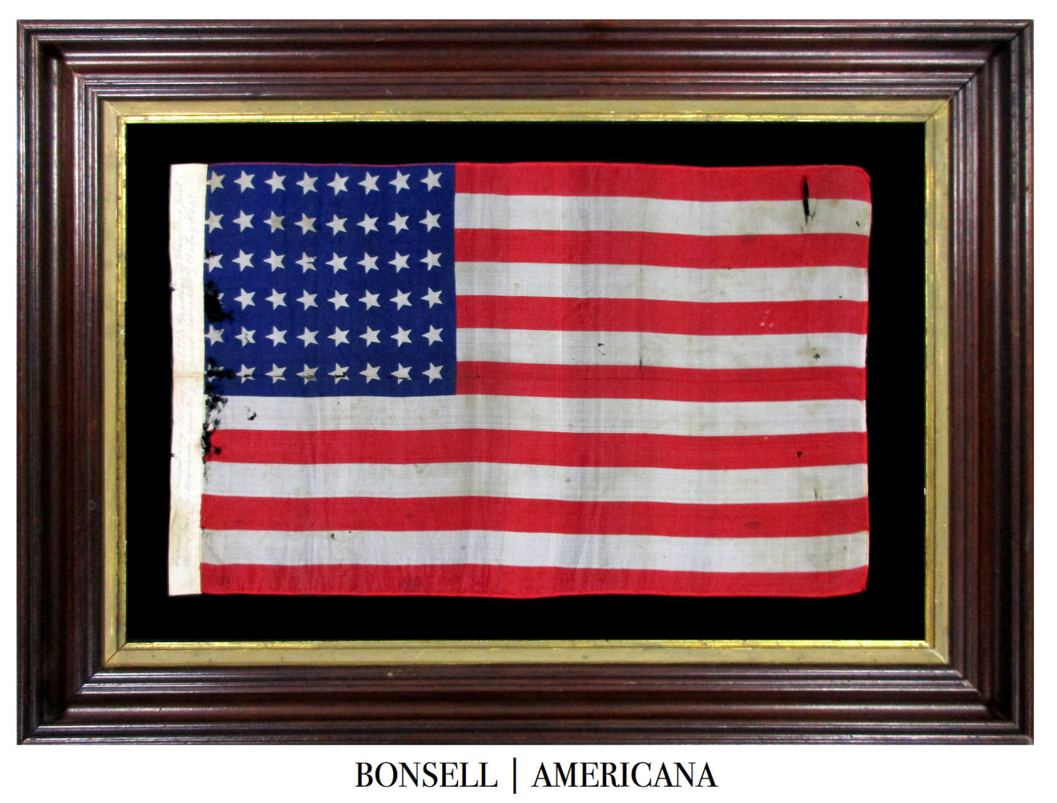 48 Star Antique American Flag with Canted Stars and Made by M.C. Robison, the Great Granddaughter of Betsy Ross