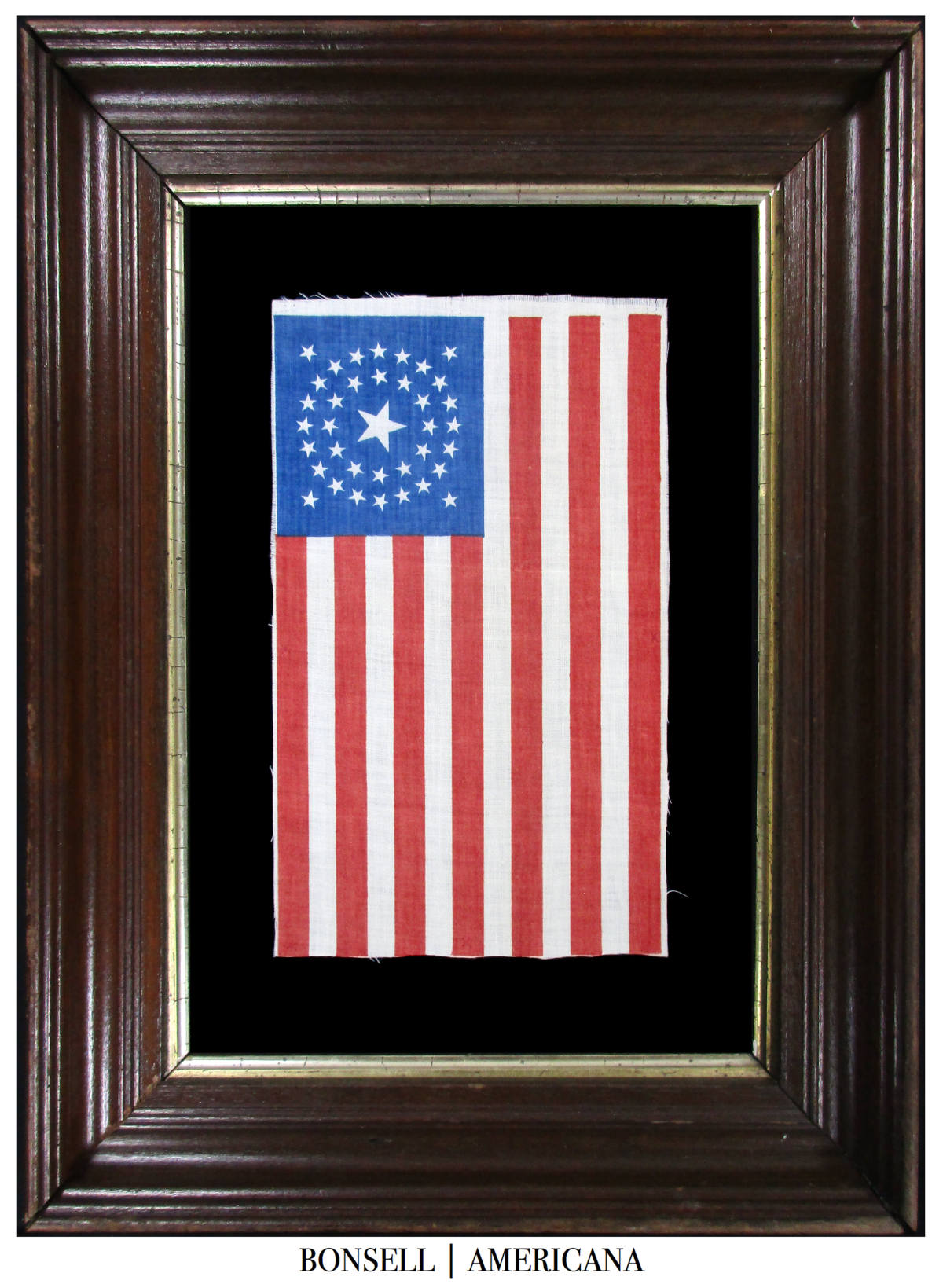 37 Star Antique American Flag with a Medallion Star Pattern