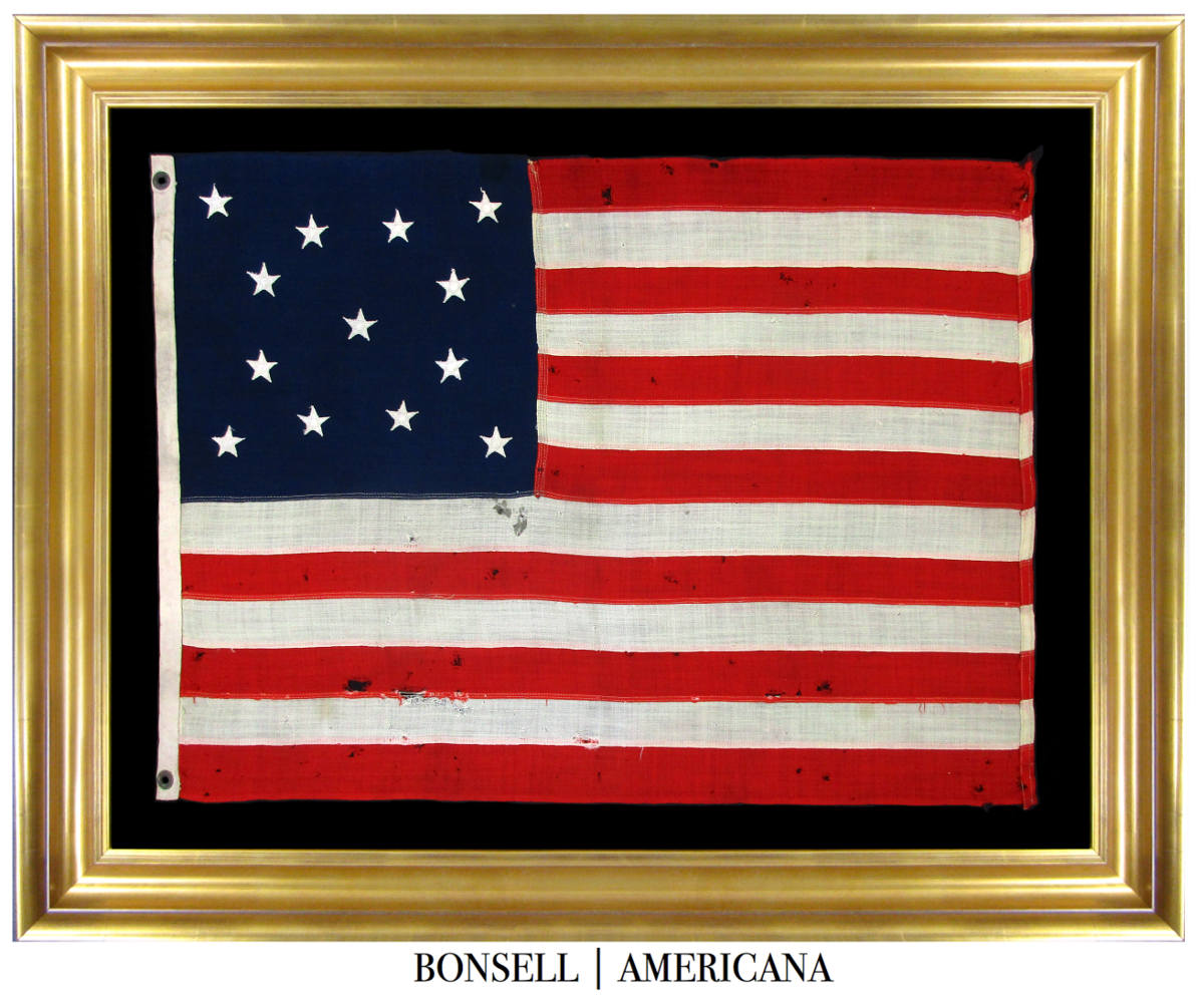 13 Star Antique US Flag with a Medallion Star Pattern