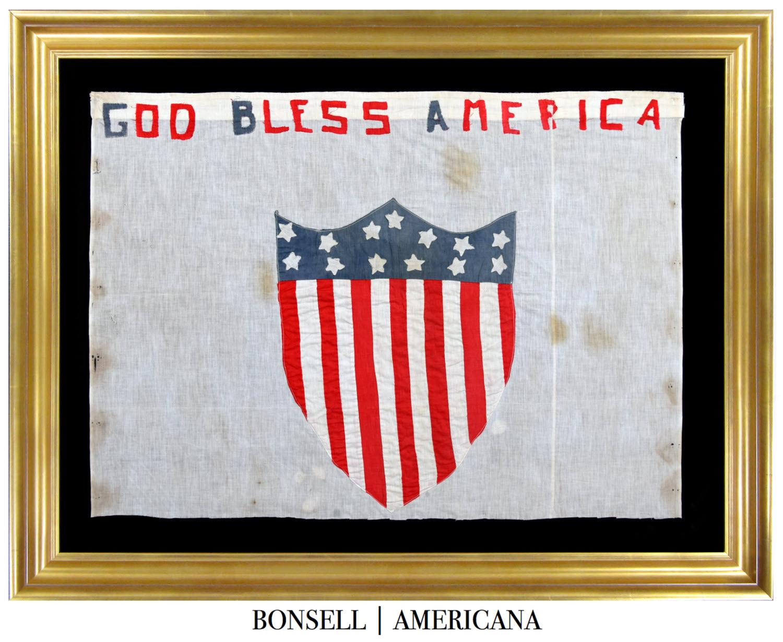 Handmade Antique God Bless America Banner