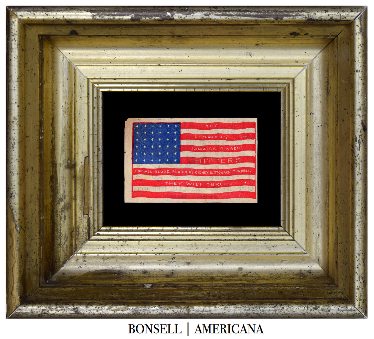 36 Star Antique Flag with Bitters Overprint