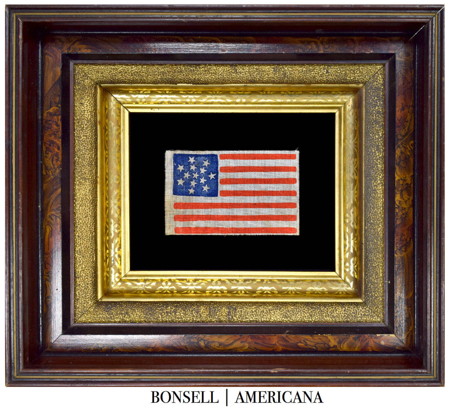 13 Star Antique Flag with a Snowflake Medallion Pattern