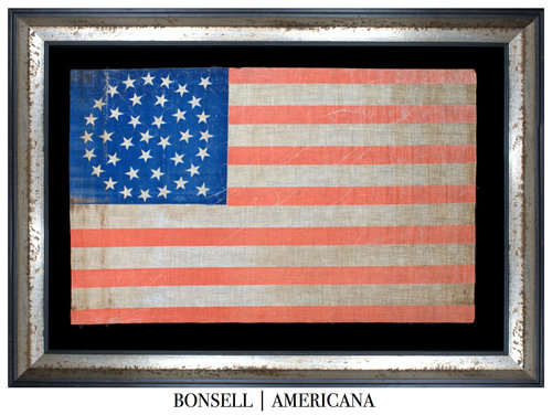 Antique Flag with an Offset Medallion Star Pattern