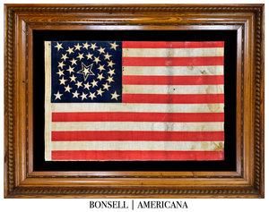 Antique Flag with a Medallion Star Pattern and Haloed Center Star