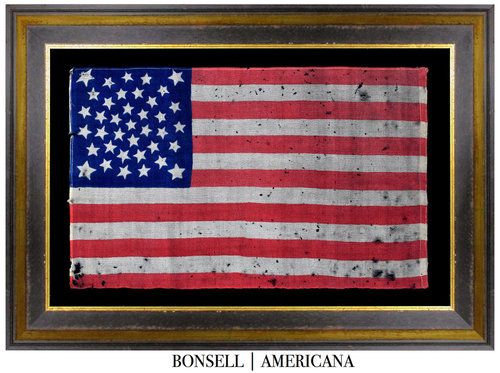 Antique Flag with a Medallion with Large Flanking Stars Pattern