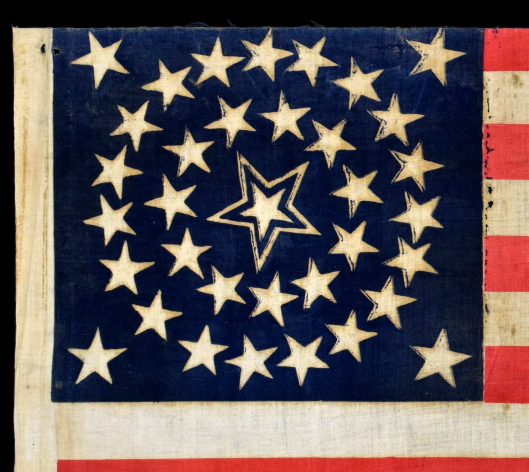 35 Star Antique Flag with Haloed Center Star