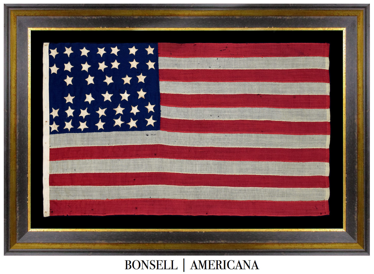 Antique Flag with an Hourglass Star Pattern